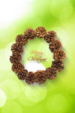Christmas wreath with pine cones  on white background Royalty Free Stock Photos