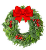 Christmas wreath from pine and spruce red ribbon bow stock photos