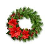 Christmas wreath from pine twigs, berries and poinsettia flowers Stock Images