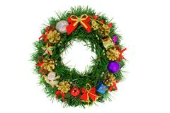 Christmas Wreath with pinecones Isolated on White Stock Image