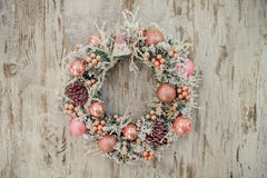 Christmas wreath with pink decor and bubbles Stock Photography