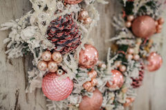 Christmas wreath with pink decor and bubbles Stock Image