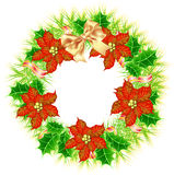 Christmas wreath with poinsettia. Picture of Christmas wreath with poinsettia Royalty Free Stock Photos