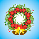 Christmas wreath with poinsettia and balls. Royalty Free Stock Photo