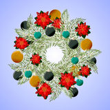 Christmas wreath with poinsettia and balls. Stock Images
