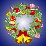 Christmas wreath with poinsettia and balls. Royalty Free Stock Photos