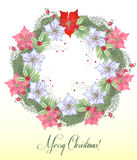 Christmas Wreath with  Poinsettia Flowers Stock Image