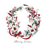 Christmas Wreath. Poinsettia plant; Holly; red berries. Decorative wreath of flowers. Holiday garland; festive clip art isolated on light pink background Royalty Free Stock Photo