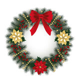 Christmas wreath. With poinsettia plant, red berries and fir branches Stock Photography