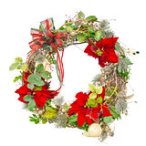 Christmas wreath with poinsettias Stock Image