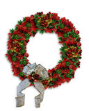 Christmas Wreath Poinsettias Royalty Free Stock Photo