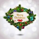 Christmas wreath postcard Royalty Free Stock Photos