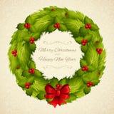 Christmas wreath postcard Stock Photo