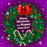 Christmas wreath on purple background Stock Images