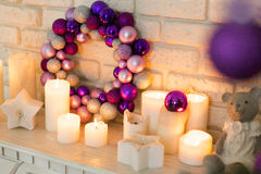 The Christmas wreath of purple, pink, violet Christmas tree balls Stock Photography