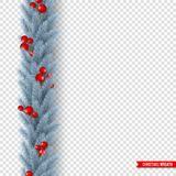 Christmas wreath with realistic fir-tree branches and berries. Decorative design element for holiday posters, flyers. Banners. Isolated on transparent vector illustration