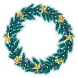 Christmas wreath of realistic pine fir branches isolated on white background, decorated with golden stars and beads stock illustration