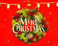 Christmas wreath  on red background . Stock Image