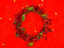 Christmas wreath  on red background . Stock Images