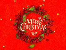 Christmas wreath  on red background . Royalty Free Stock Photography