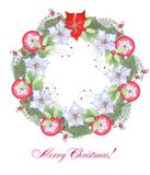 Christmas Wreath with Red Balls Royalty Free Stock Image