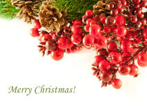 Christmas wreath from red berries Stock Photos