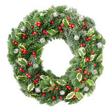 Christmas wreath with red berries. Christmas pine wreath isolated on white background stock photo