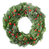 Christmas wreath with red berries Royalty Free Stock Images