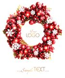 Christmas wreath from red berries isolated. royalty free stock photo