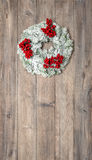 Christmas wreath with red berries. Festive decoration Stock Photos