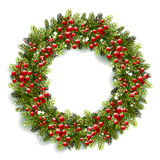 Christmas Wreath with Red Berries Stock Image