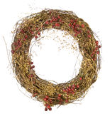 Christmas wreath of red berries and vines isolated Stock Images