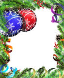 Christmas wreath with red and blue baubles Royalty Free Stock Photos