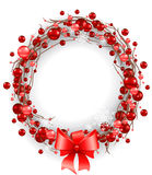 Сhristmas wreath with red bow Royalty Free Stock Photos