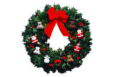 Christmas wreath with red bow. Royalty Free Stock Photography