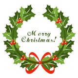 Christmas wreath with red bow Royalty Free Stock Image