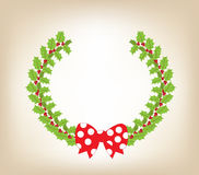 Christmas wreath with red bow background stock illustration
