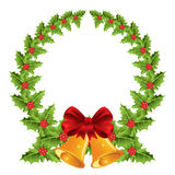 Christmas wreath with red bow and bells Stock Photography