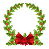 Christmas wreath with red bow. Berry christmas wreath with red bow vector illustration