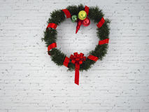 Christmas wreath with red bow Royalty Free Stock Photos