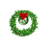 Christmas wreath with red bow and bright ball Royalty Free Stock Photo