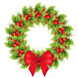 Christmas wreath with red bow. Realistic holly, fir tree branches. Holiday ilex, shining snowflakes winter decoration element. isolated vector illustration on Royalty Free Stock Photography