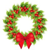Christmas wreath with red bow. Realistic holly, fir tree branches. Holiday ilex, winter decoration element. isolated vector illustration on a white background Royalty Free Stock Image