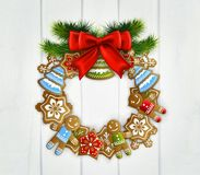 Christmas Wreath With Red Bow. Merry christmas vintage design with white wooden door decorated by wreath made of  christmas toys realistic vector Illustration Royalty Free Stock Photo