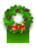 Christmas wreath with red bow and pinecones Royalty Free Stock Photos