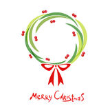Christmas wreath with red bow Stock Images