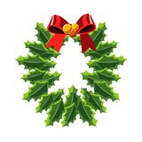 Christmas wreath with red bow. Vector illustration Stock Images