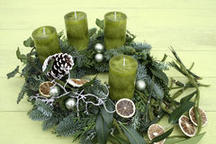 Christmas wreath with red candles Stock Photos