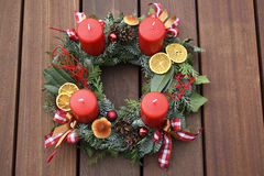 Christmas wreath with red candles Stock Images