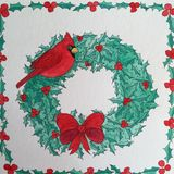 Christmas wreath and Red Cardinal bird pen and ink drawing Royalty Free Stock Image